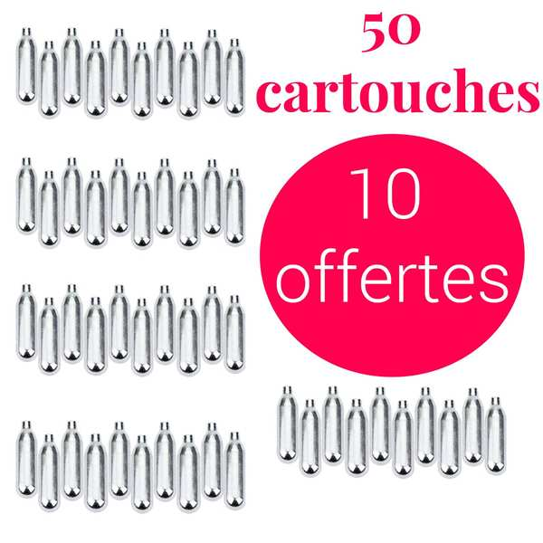 40 cartouches de CO2 + 10 offertes - Pour soda et eau de seltz