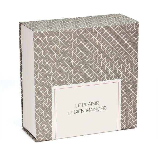 Boite cadeau carrée aimantée grise et blanche classique