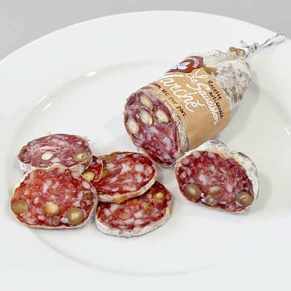 Dry sausage with hazelnuts
