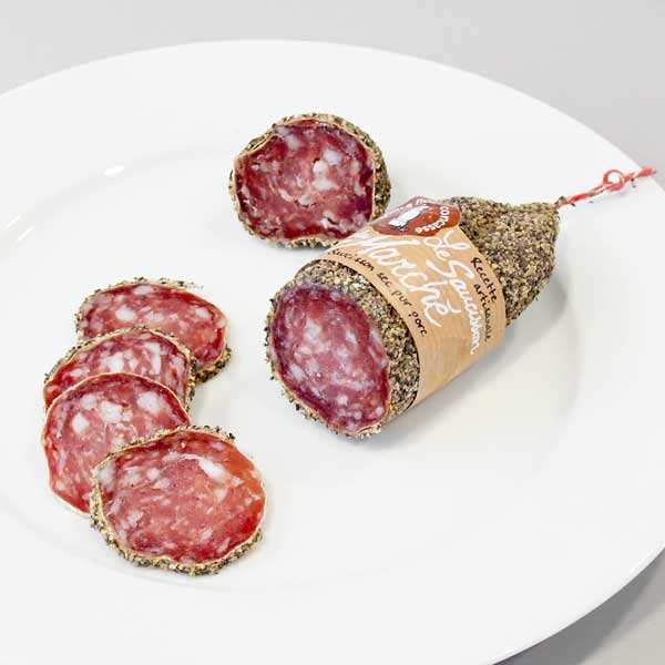Dry sausage with crushed black pepper
