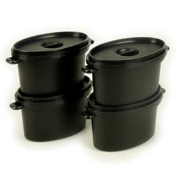 - 4 mini cocottes ovales + couvercles en plastique (35cl)
