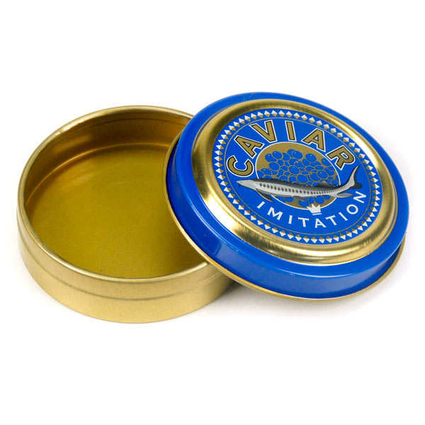 Empty caviar tin for food presentation