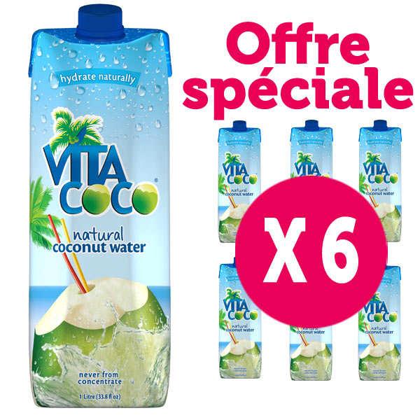 Vita coco - 100% pure eau de coco - Le lot de 6 bouteilles 1L