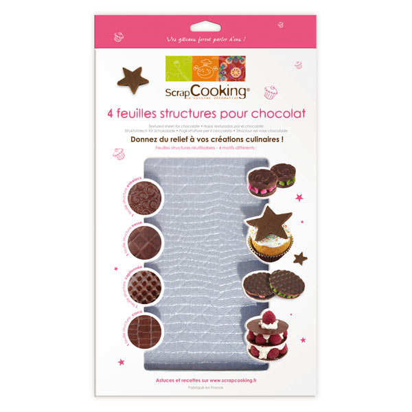 4 textured sheets for chocolate