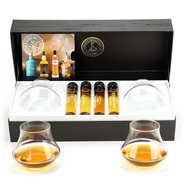 Single malts Whiskies gift box - 4 tubes + 2 glasses