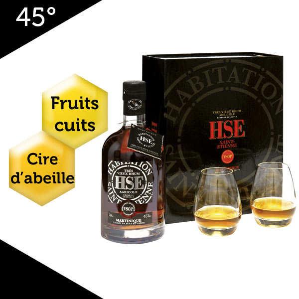 Coffret rhum vieux agricole - HSE VSOP - 2 verres - 45%