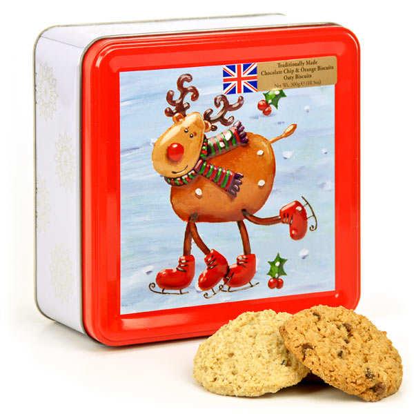 Boîte biscuits de noël - Renne en patins à glaçe