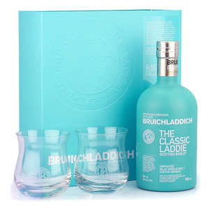 Bruichladdich - Bruichladdich The Classic Laddie Scottish Barley box with 2 glasses