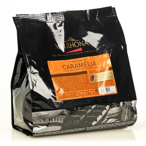 "Chocolat caramel de couverture Valrhona en fèves ""Caramélia"""