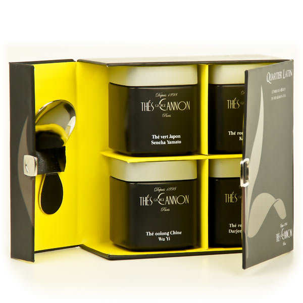 Coffret de 4 thés grandes origines et cuillère à thé