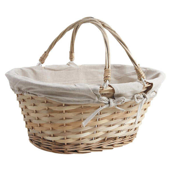 Large beige wicker basket with two handles