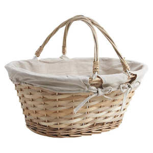 - Large beige wicker basket with two handles