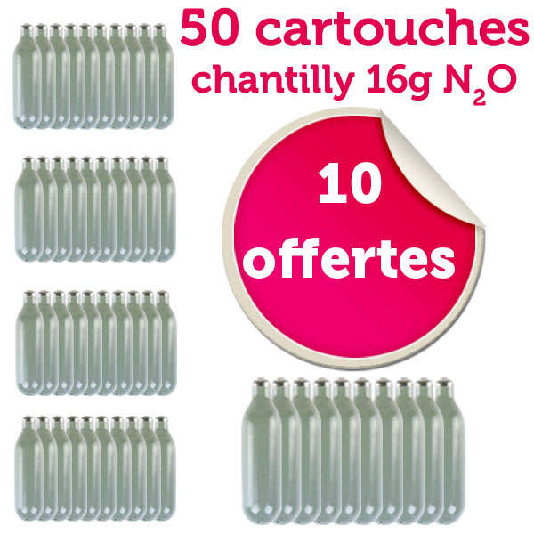 40 Chargers for whipped cream + 10 free of charge (16g N2O)