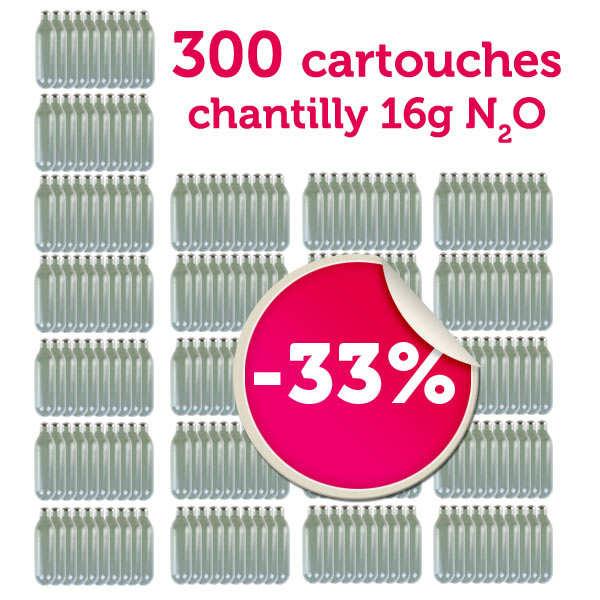 300 cartouches de 16g de N2O pour siphon chantilly 1L