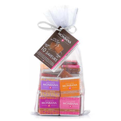 Monbana Chocolatier - Sachet 50 napolitains assortis pour le café (10 saveurs noir et lait)