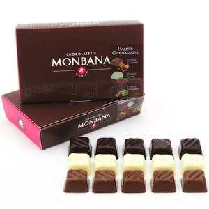 Monbana Chocolatier - Ballotin de palets pralinés gourmands noir, lait et blanc
