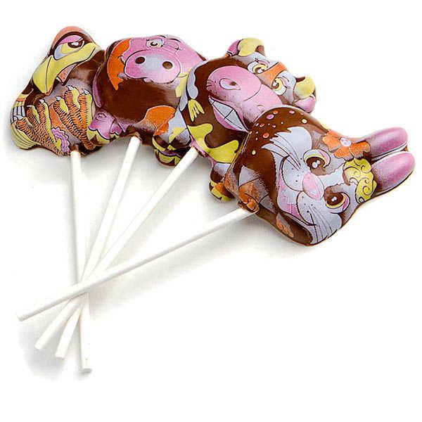 Chocolate caramel lollipop - Farm animals
