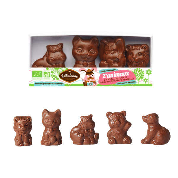 Les p'tits z'animaux milk chocolate with crisp