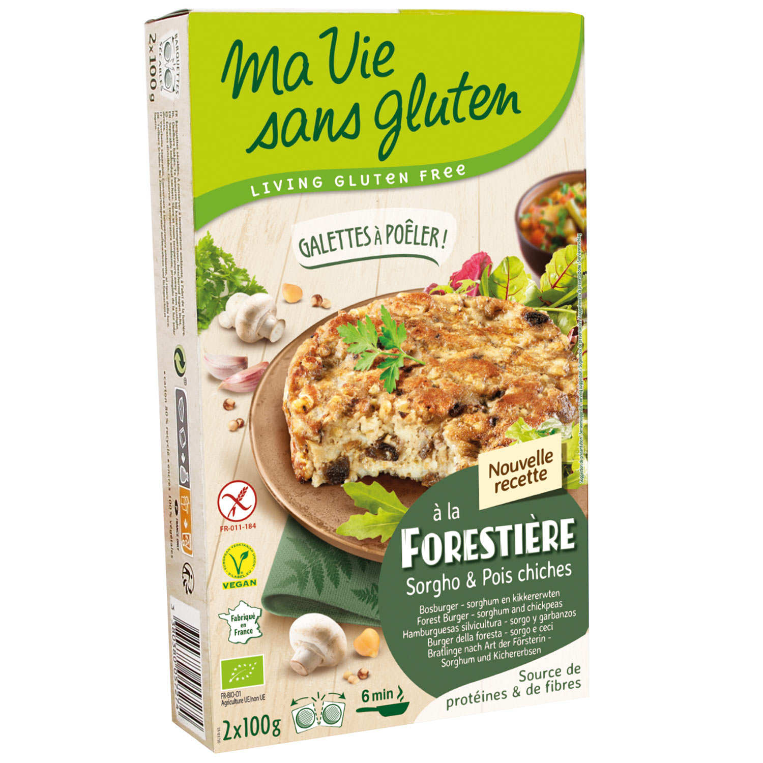 Organic Ready to cook mushroom and cheeck peas galette - gluten free