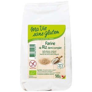 Ma vie sans gluten - Farine de riz  demi-complète bio garantie sans gluten