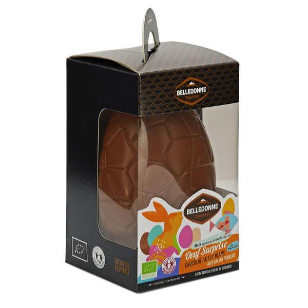 Oeuf en chocolat au lait et blanc bio et son jouet surprise