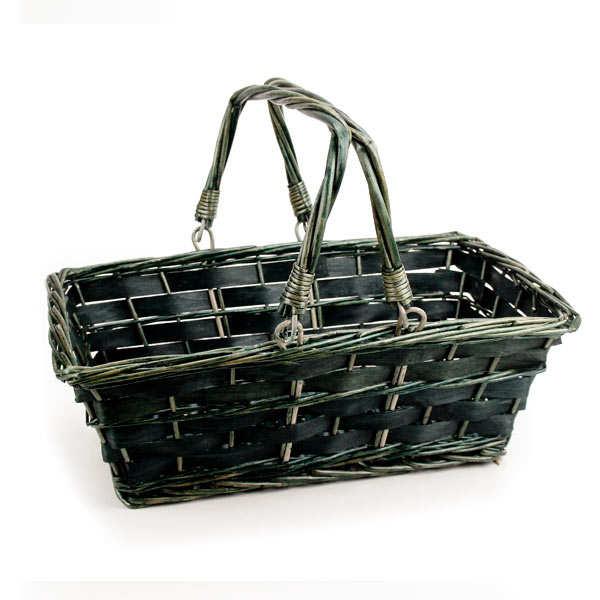 Dark Wicker Baskets With Handles : Brown wicker basket with two handles dark green rectangle