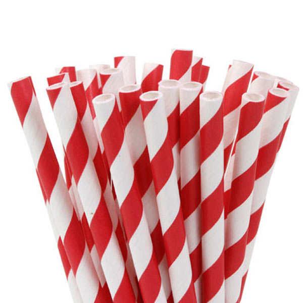 20 pailles rayées - blanc et rouge