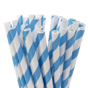 House of Marie - 20 light blue and white straws