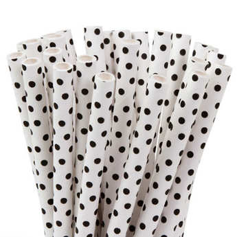 House of Marie - 20 white and black polka dot straws