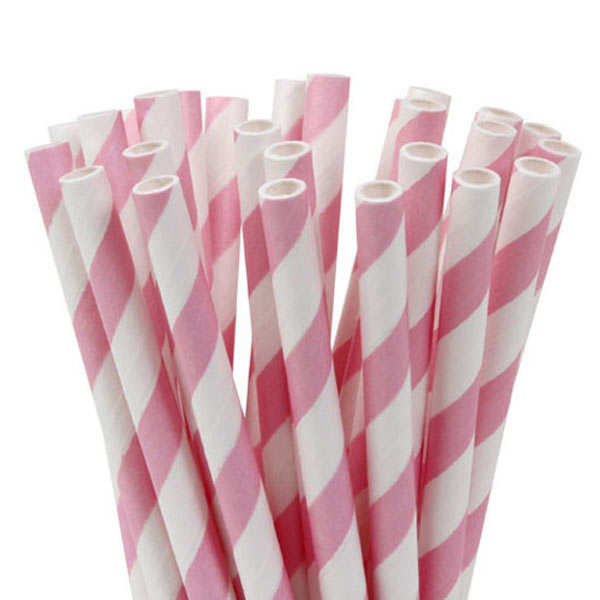 20 pailles rayées - blanc et rose
