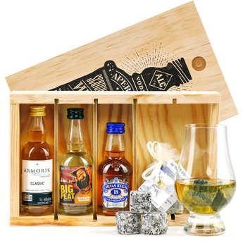 BienManger paniers garnis - Coffret cadeau whisky - 3 Mignonnettes + 10 pierres à whisky