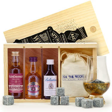 Coffret cadeau whisky - 3 Mignonnettes + 10 pierres à whisky