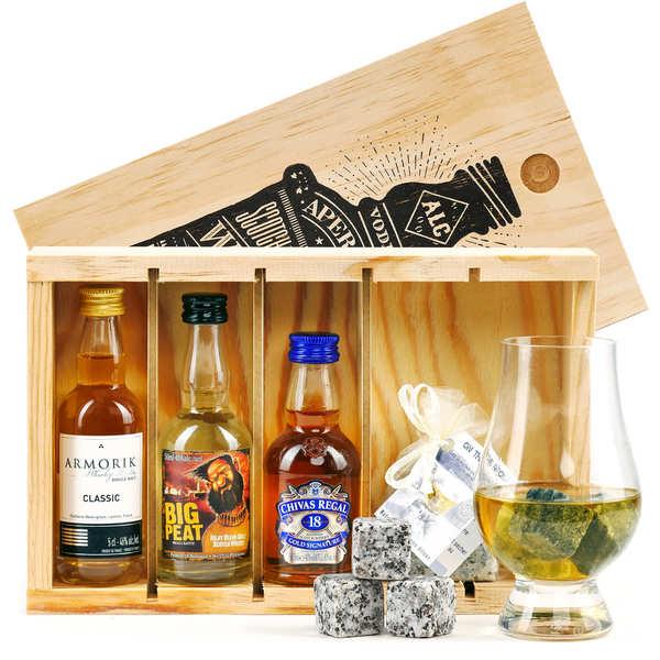 Whisky Gift Box - 3 Sample Bottles + 10 Whisky Cubes