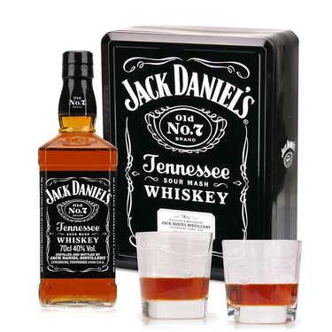 Whisky Jack Daniel's n°7 coffret métal 2 verres 150e anniversaire