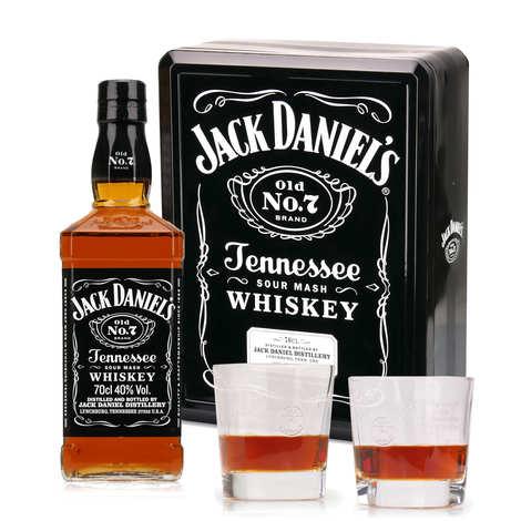 Jack Daniel's - Whisky Jack Daniel's n°7 coffret cadeau métal 2 verres