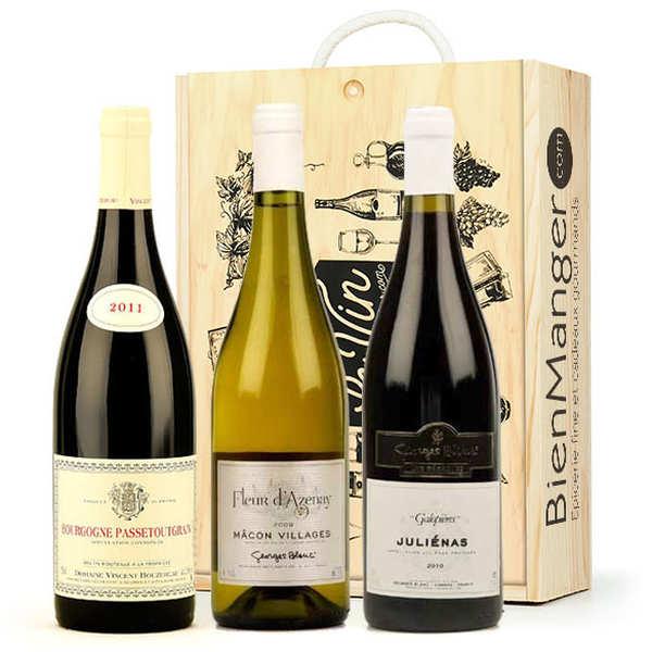 Coffret bois 3 vins de bourgogne - caisse bois 3 bouteilles 75cl