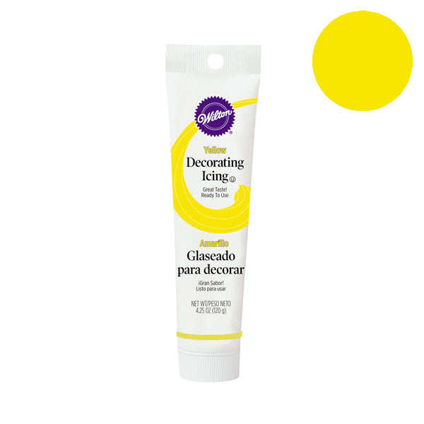 Yellow decorating icing in tube