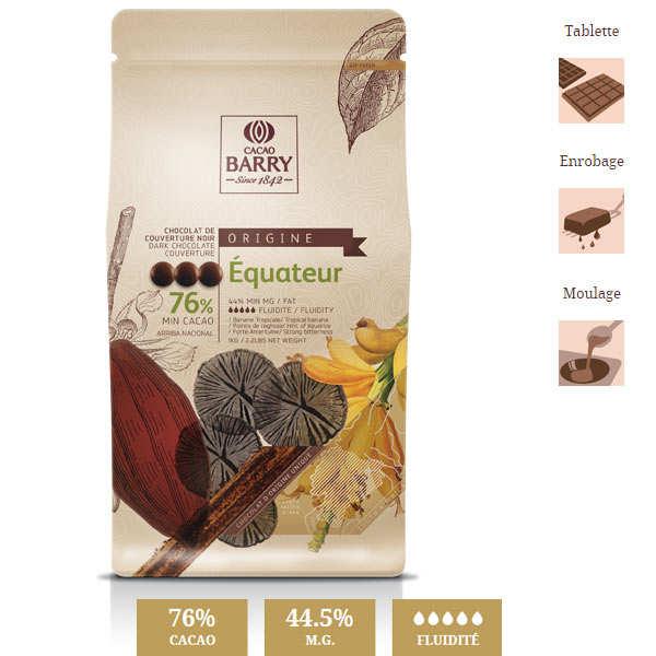 Chocolat de couverture noir 76% d'Equateur