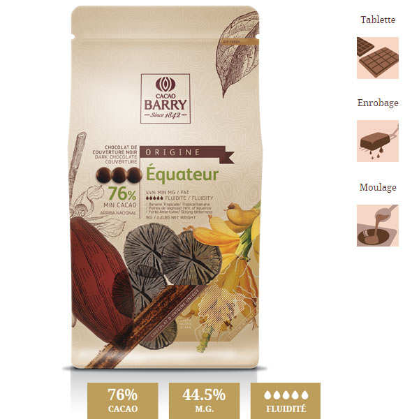 Dark chocolate couverture Equateur 76%