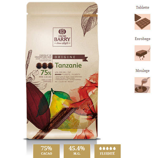 """Chocolat de couverture noir """"origine rare"""" Tanzanie- 75% - en pistoles"""