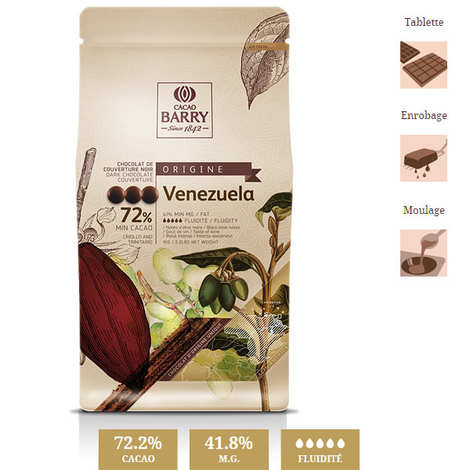 Cacao Barry - Dark chocolate couverture Venezuela 72%
