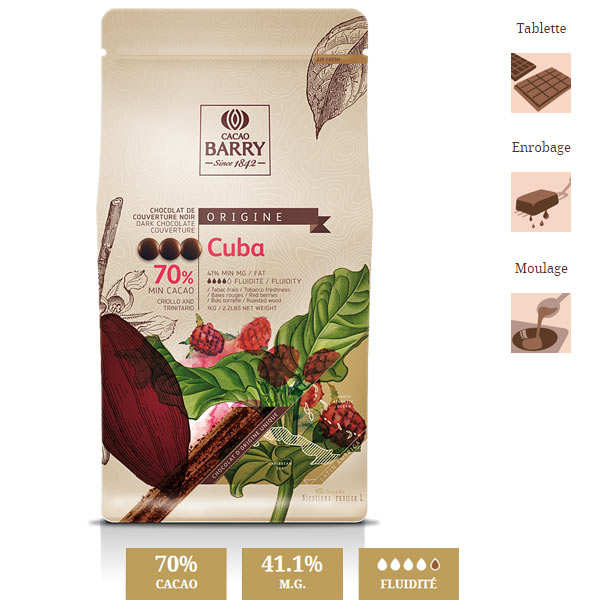 Dark chocolate couverture Cuba 70%