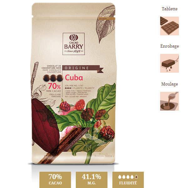 Dark chocolate couverture Cuba 70%