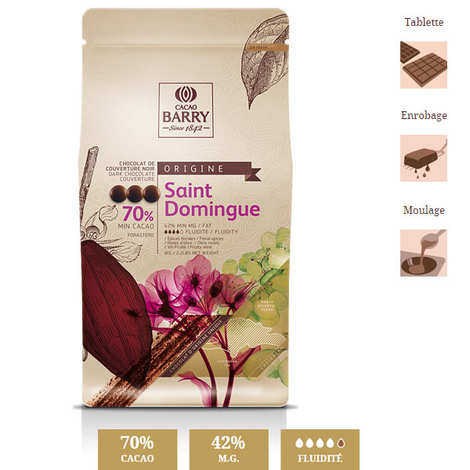 Cacao Barry - Chocolat de couverture noir 70% de Saint-Domingue
