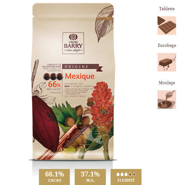 Dark chocolate couverture Mexico 66%