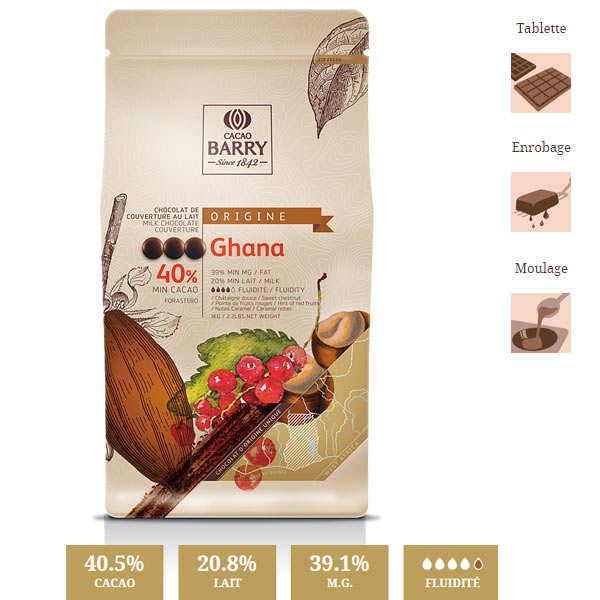 Chocolat de couverture lait  40.5% du Ghana