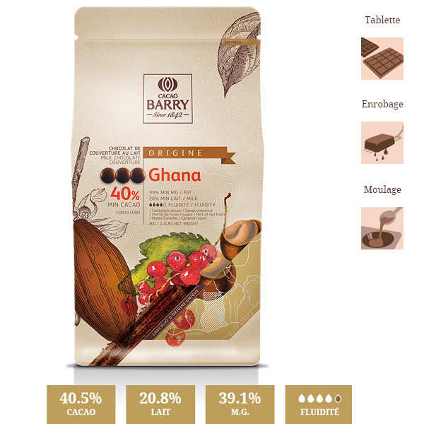 Milk Chocolate Couverture Ghana 40.5% - 1kg
