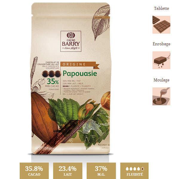 Chocolat de couverture lait Papouasie - 35.7% - en pistoles