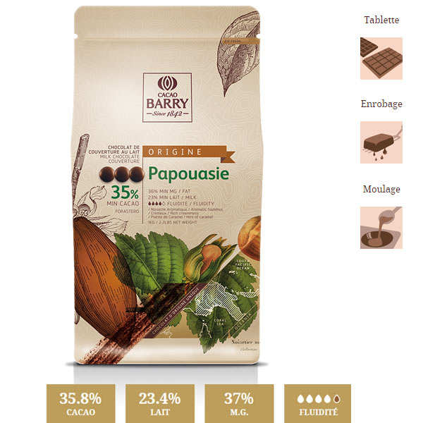 Milk chocolate couverture Papua - 35.7%