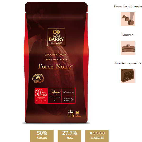 Chocolat noir  Force noir - 50% - en pistoles